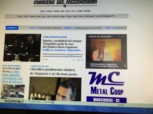 """Metalcoop – Prima pagina """"Corriere del Mezzogiorno"""""""